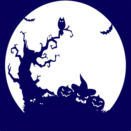 calabaza caricatura: Holiday Halloween, (tree, owl, pumpkin), blue silhouette on white background.vector