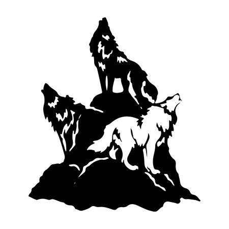 Tres lobos en una colina aullando, silueta sobre un fondo blanco. Vector