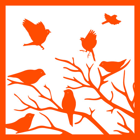 Orange silhouette in the frame, birds on a branch, on a white background.vector