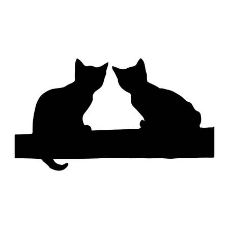 silueta de gato: Two black kittens sit on a stick, silhouette on a white background.vector Vectores