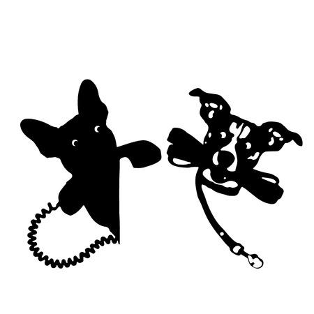 impatient: Silhouette of a dog holding a leash and a telephone receiver, on a white background.vector
