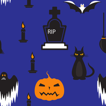 silueta de gato: Seamless Halloween holiday pattern, (coffin, candle, pumpkin,ghost,) dark blue.vector Vectores