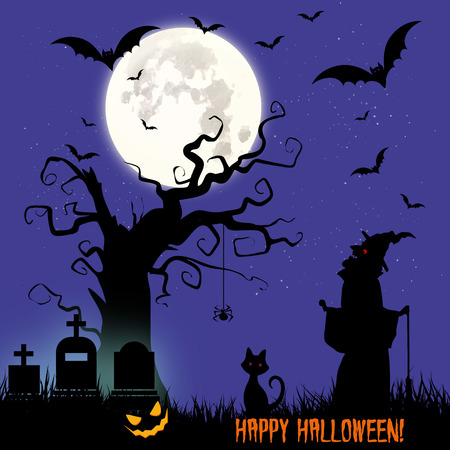 silueta de gato: Holiday Halloween, illustration night cemetery and witch, vector