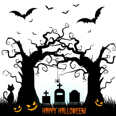 silueta de gato: Halloween illustration, illustration of cemetery and tree, vector Vectores