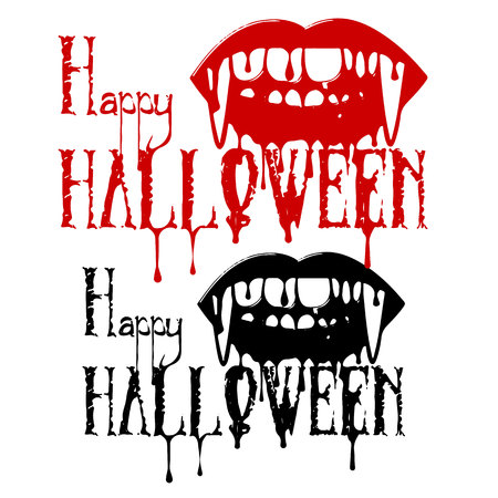 Silhouette of a vampires teeth with blood, and the inscription Halloween on a white background.vector