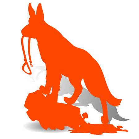 Orange Silhouette of a Dog (German Shepherd) holding a leash, and looking up, on a white background.Vector