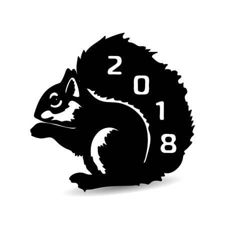 Squirrel 2018 sentado, silueta negra en un background.vector blanco Foto de archivo - 87883861