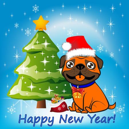 Illustrazione, cane di Natale arancione seduto vicino a un albero di Natale in un cappello di Babbo Natale, Archivio Fotografico - 88802621