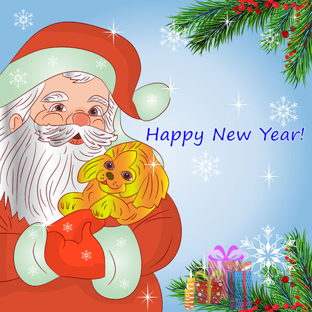arboles caricatura: Illustration, Santa Claus in hands holding a yellow dog (symbol of the year 2018),