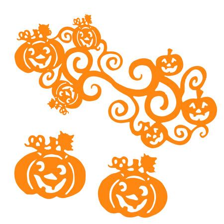 Orange Silhouette Halloween Pumpkins, on white background, vector