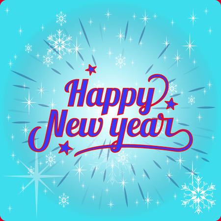 Beautiful Inscription Happy New Year, on a festive blue background.Vector Illustration