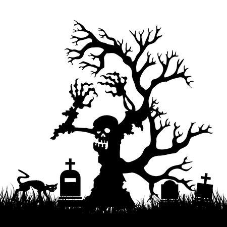 Halloween, Silueta árbol de miedo zombie sin hojas en el cementerio, sobre fondo blanco, vector Foto de archivo - 88353983
