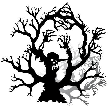 Halloween, silueta de un árbol de miedo zombie sin hojas, sobre fondo blanco, vector Foto de archivo - 88353981