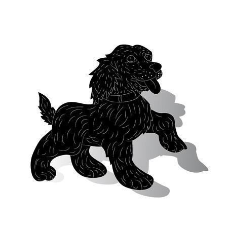Dog-symbol of the year, silhouette, cartoon (ornate) on white background, vector Illusztráció