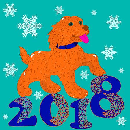 Cartolina d'illustrazione, cane arancione, simbolo dell'anno, iscrizione 2018, cartone animato, vettore Archivio Fotografico - 88906902