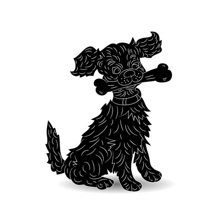 Silhouette of a dog holding a bone, symbol of the year, cartoon (ornate) on a white background, vector