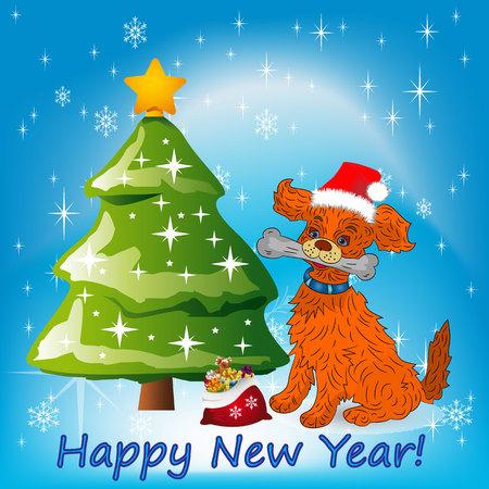 Illustration, Christmas orange dog sitting near a Christmas tree in a Santa Claus hat,