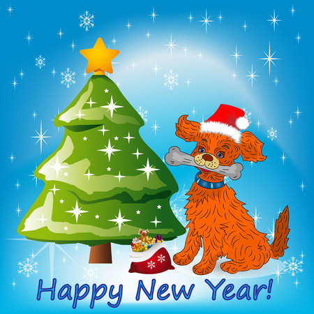 arboles caricatura: Illustration, Christmas orange dog sitting near a Christmas tree in a Santa Claus hat,