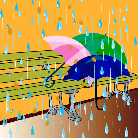 Autumn illustration, on a bench there are three umbrellas, and its raining, vector