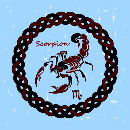 talisman: Silueta, signo del horóscopo SCORPIO, sobre un fondo celestial, vector Vectores