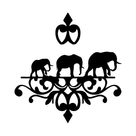 Silhouette of elephant family. Ilustrace