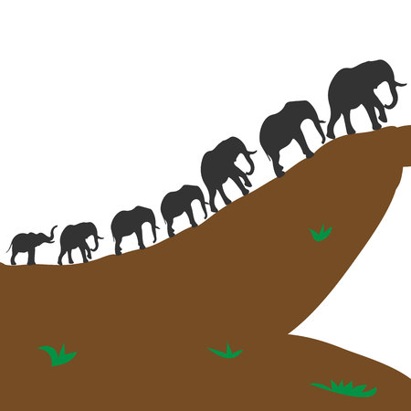 Silhouette of elephants on a hill. Illustration