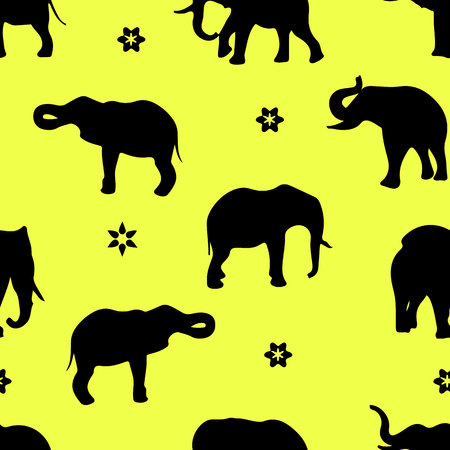 Silhouette of black elephants pattern. Ilustrace