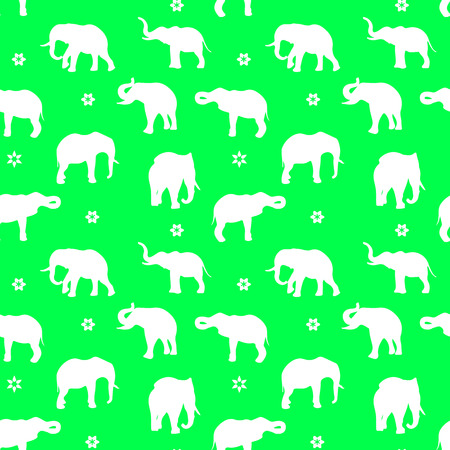 Silhouette of white elephants pattern. Illustration