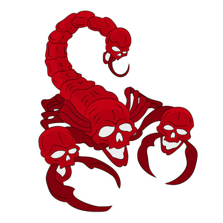 Red scorpion with a head of a skull.
