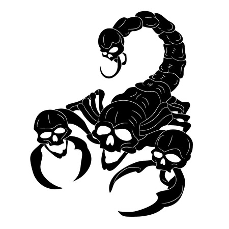 Black scorpion with a head of a skull.