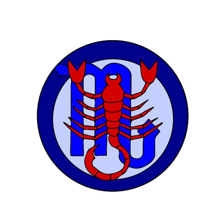 Zodiac sign red SCORPIO, blue icon on white background, vector Illustration