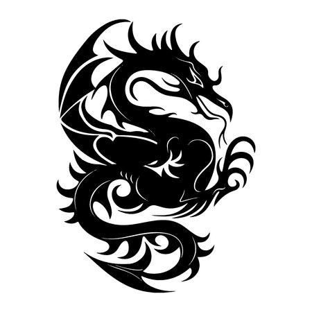 Silhouette of a black dragon fighting, on a white background, vector