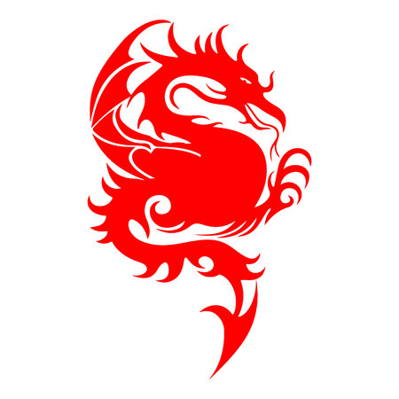 Red silhouette of a fighting dragon, sharp tail, on a white background, vector Illustration