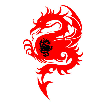 Abstract Symbols, Silhouette of a fighting dragon (red, black), sharp tail, on white background, vector