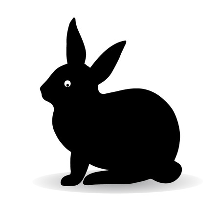 Silhouette of a black hare (rabbit), sitting and looking askance, against white background, vector Illustration