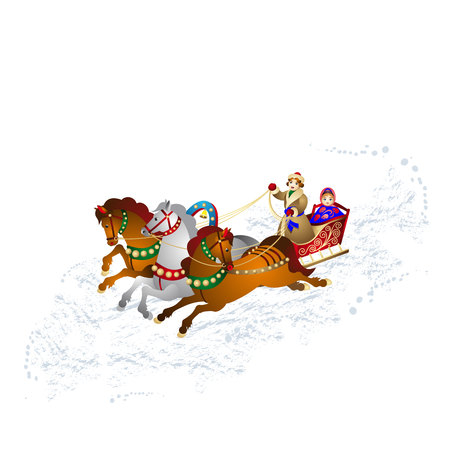 New Years illustration, Young man in a sleigh carries a Snow Maiden, on three horses, on loose snow, cartoon on a white background, vector