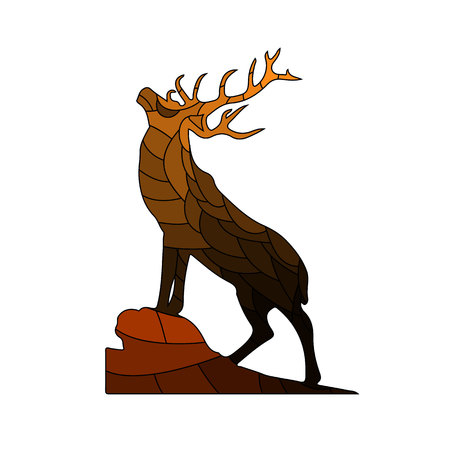 Brown Silhouette of a deer on top of a mountain, ornate, doodling, on white background, vector Illustration