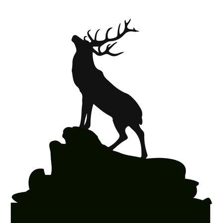 montañas caricatura: Silueta de un ciervo en la cima de una montaña, en el fondo blanco, vector Vectores