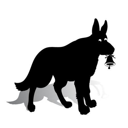 Vettoriale simbolo dell anno sagoma di cane con in mano una