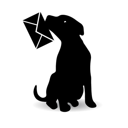 Symbol of the year, dog silhouette holding an envelope in the teeth, cartoon on a white background.