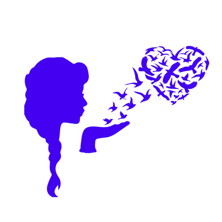 Blue silhouette of woman and flocks of birds in the shape of heart on white background.