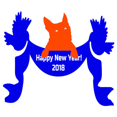 Congratulatory blue ribbon with birds on the sides, and with the word Happy New Year, and an orange dog, silhouette on a white background, vector