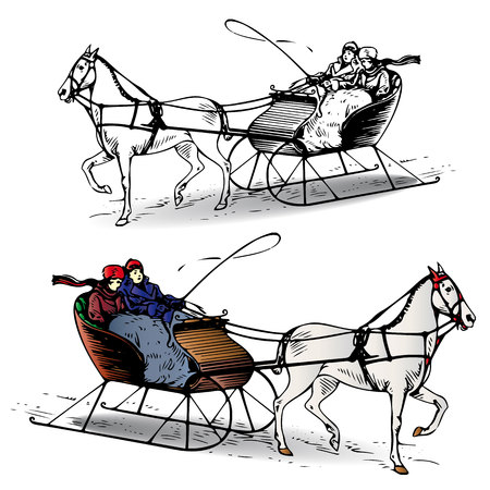 Couple riding a horse in a sleigh in winter, cartoon on white background, vector Çizim