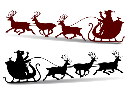 Christmas Silhouette of Santa Claus rides in a sleigh.