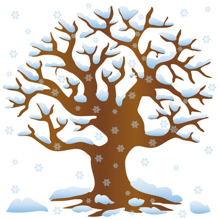 Tree without leaves in winter covered with snow and snowflakes, cartoon on white background, vector Illustration
