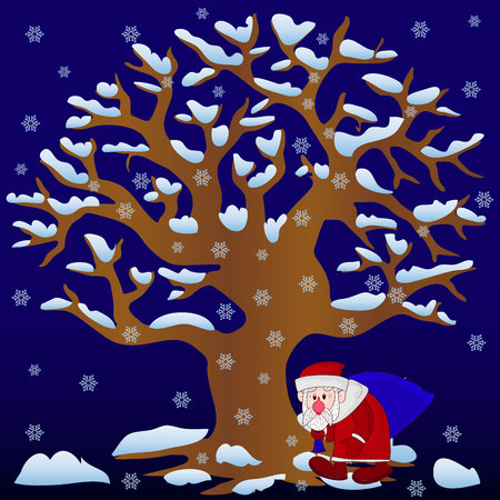 New Year illustration, Tree without leaves in winter (night) covered with snow and snowflakes and Santa Claus with bag walking, cartoon on blue background,  Stock Photo