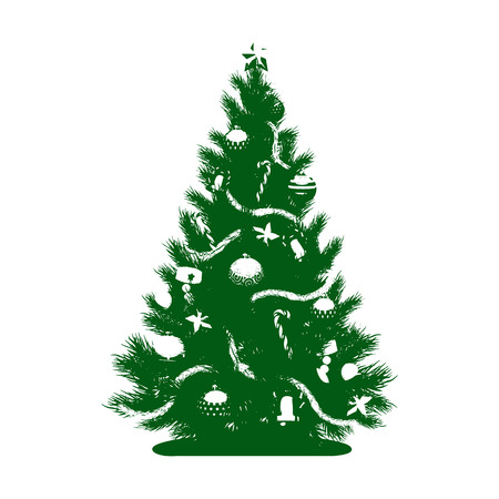 Green Silhouette of a Christmas tree with toys and a star, on white background, vector Illustration