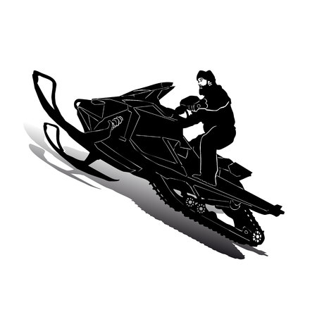 Silhouette of motorcycle snowmobile on speed, on white background, vector
