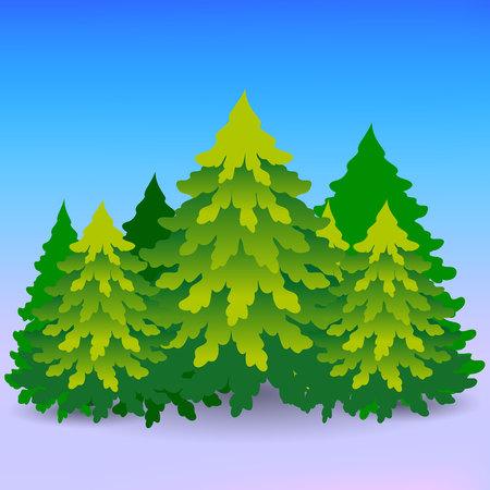 Desenhos animados, muitas árvores de Natal verdes, uma floresta no inverno, vetor Foto de archivo - 92137365