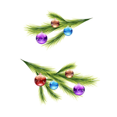 Sprig from the Christmas tree, with round toys (balls), cartoon on a white background, vector